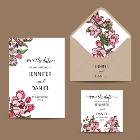 Template for wedding invitation. Card vector illustration apple blossom. 向量圖像