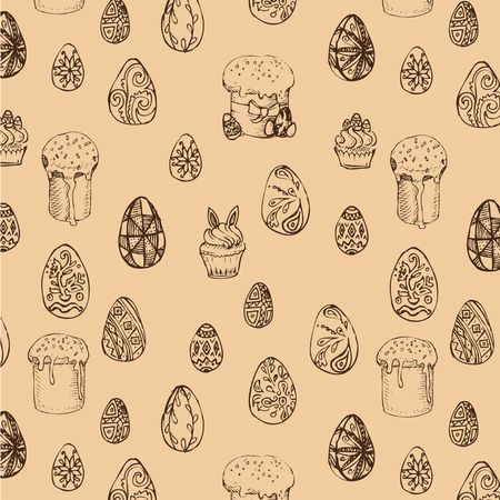 Vector background sketch pattern. Easter card with eggs.