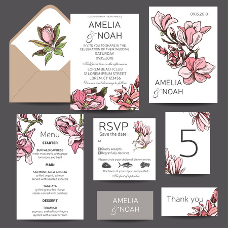 Vector invitation for the wedding. Card with magnolia flowers.