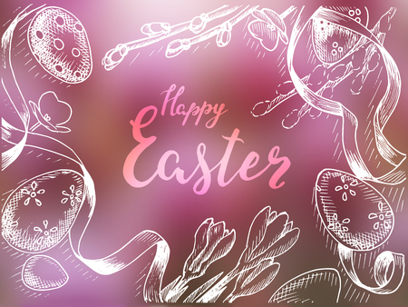 Vector illustration sketch spring. Vintage card happy Easter with eggs and flowers.