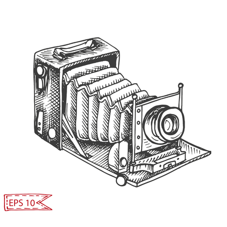 Vector hand drawn sketch Professional camera, photocamera.