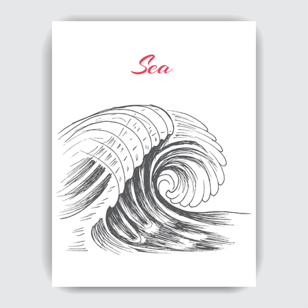 Card with hand drawn sketch wave.