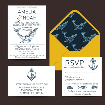 Wedding Card with whale. Colorful vector illustration with wildlif animals. Save the date invitation. Vettoriali