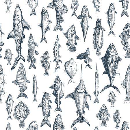 Vector illustration sketch - fish pattern Ilustrace