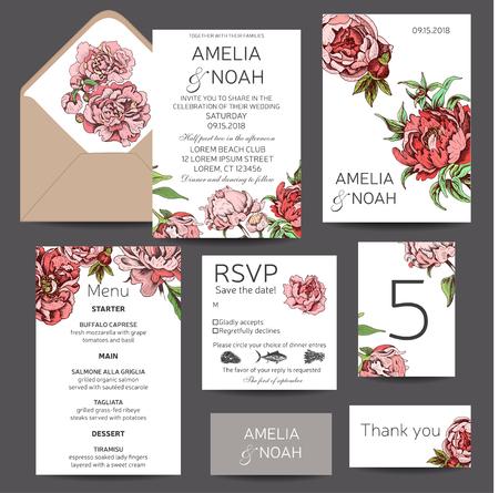 Croquis d'illustration vectorielle - carte avec fleurs chrysanthème, pivoine. Faire-part de mariage avec fleur. Dahlias, Ruscus, Viorne. Vecteurs