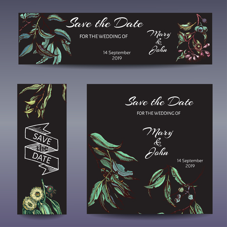Banner with flowers end leafs. Wedding invitation succulent and eucalyptus.