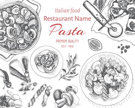 Croquis d'illustration vectorielle - pâtes. Carte menu restaurant italien.