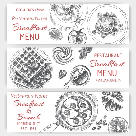 Vector illustration sketch - breakfast. Card Menu brunch. design template, banner.