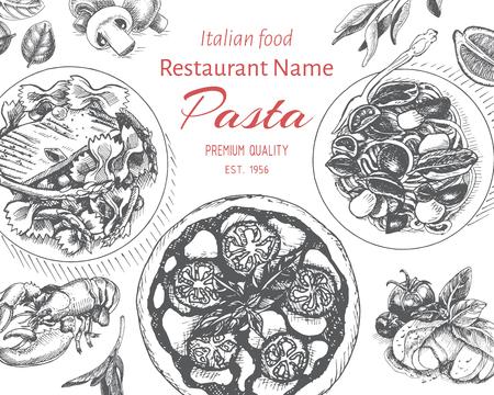 Vector illustration sketch - pasta. Card menu italian resraurant banner.