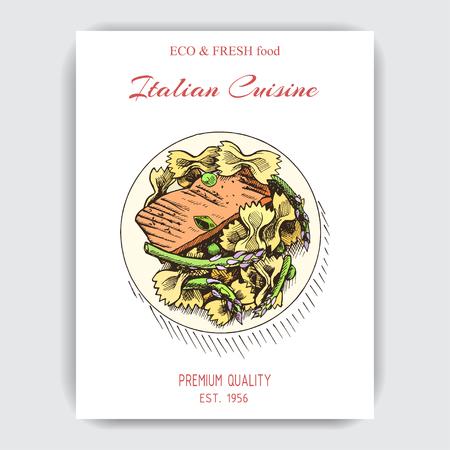 Vector illustration sketch - pasta. Card menu italian restaurant. Banner italan cuisine.