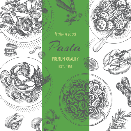 Vector illustration sketch - pasta. Card menu italian resraurant banner.