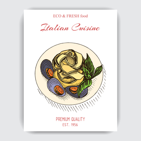 Vector illustration sketch - pasta. Card menu italian restaurant. Banner italan cuisine.