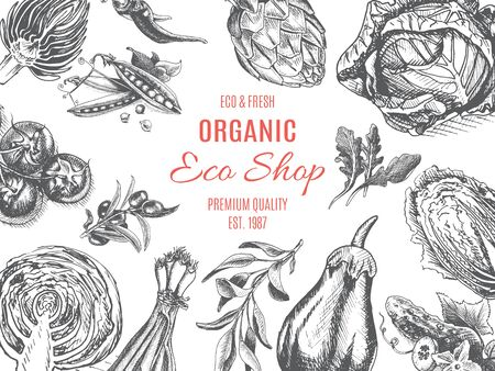 Organic farm shop. Vector sketch of vegetables.