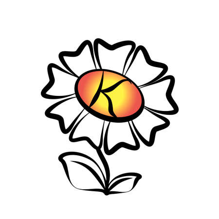 leaf logo: Abstract flower. Logo in the form of a flower with a letter. Vector illustration. Illustration