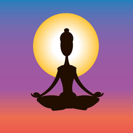 Image of a pose in yoga. Yoga at dawn. Vector illustration.
