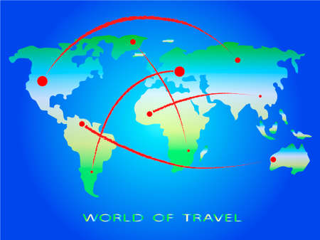World of travel. Directions. Image of the world map. Vector illustration
