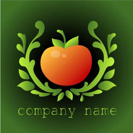 Embleem met een afbeelding van een tomaat. Groenten. Vector illustratie.