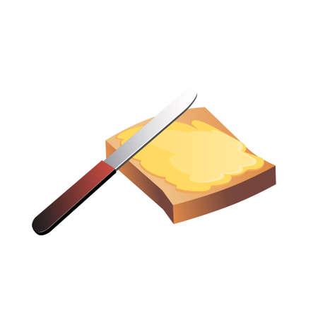 Bread and butter. Breakfast. Vector illustration. Reklamní fotografie - 85251467