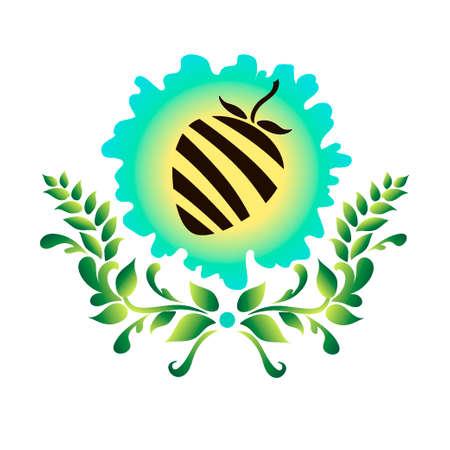 Logo met een afbeelding van een bes. Aardbei. Bedrijfsnaam. Vector illustratie.