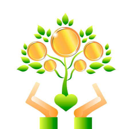 The tree is money. A tree with coins. Vector illustration.