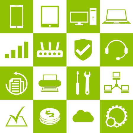 Computer, laptop and smartphone repair service and support icons Vector