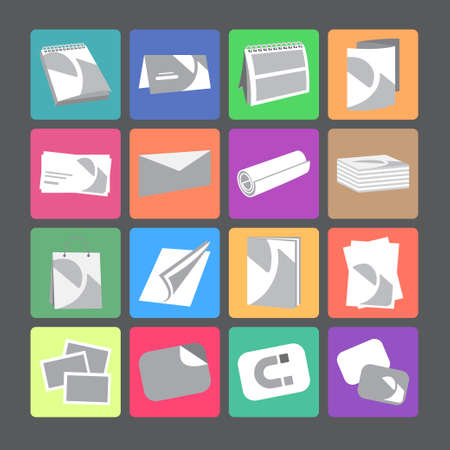 printing house: Printing house web flat icons with products include business card, postcard and calendar