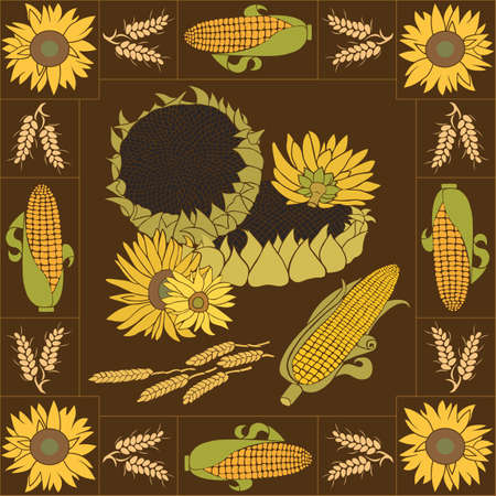 haulm: Yellow and green sunflower with orange corn on the dark background with frame Illustration