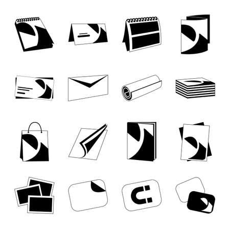 imprenta: Casa de impresi�n monocromo web iconos negros con productos incluyen tarjeta de visita, tarjetas postales y calendario sobre fondo blanco