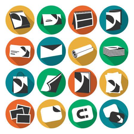 Drukarnia internetowych płaskim kolorów ikon w okręgu z cieniem. Produkty obejmują wizytówki, pocztówki i kalendarz na białym tle Ilustracje wektorowe