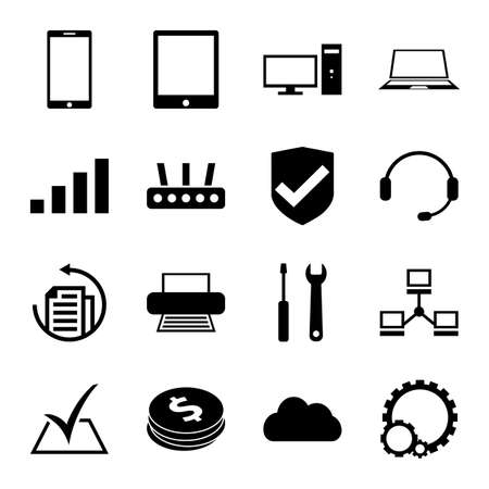 computer repair: Computer, laptop and smartphone repair service and support icons Illustration