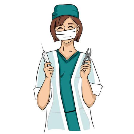 chirurgo: Donna sexy dentista tiene la siringa e pinze. Giovane timido medico un'infermiera sorridente isolato su uno sfondo bianco