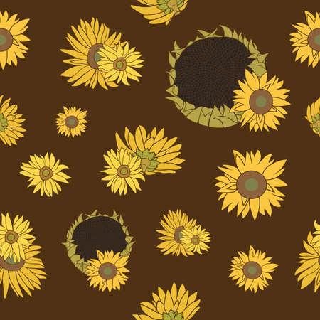 haulm: Yellow and green sunflower on the dark background. Seamless flower pattern