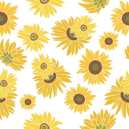 halm: Yellow and green sunflower isolated on the white background. Seamless flower pattern