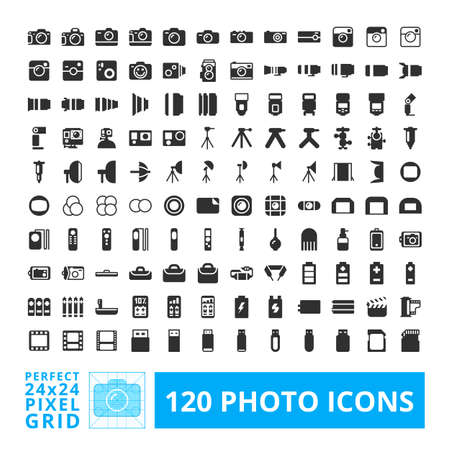 Photo camera black web and system icons with accessories set. Photography vector icon element isolated on a white background. Designed by 24x24 pixel grid.