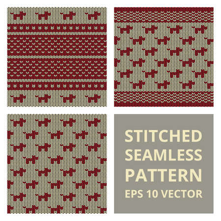 plain stitch: Stitched seamless pattern set with silhouette of dog. Fabric cute background collection in red and brown colors