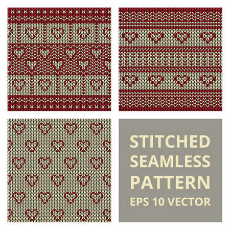 stitched: Stitched seamless pattern set with silhouette of heart. Fabric cute background collection in red and brown colors