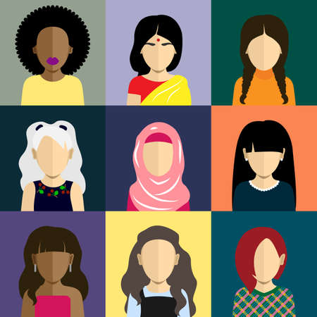 cabeza: Gente iconos conjunto en estilo plana con caras. Avatares vector con car�cter mujeres