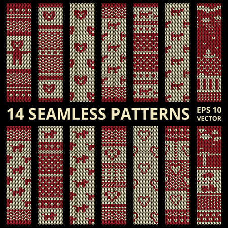 plain stitch: Stitched seamless pattern set with silhouette of bear, dog, cat, car, heart and ship. Fabric cute background collection in red and brown colors