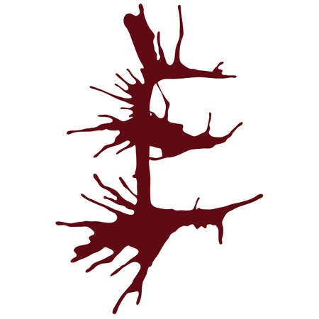 e alphabet: The letter E alphabet dripping with blood ink splash. Vector illustration. Red fonts isolated on a white background. Illustration