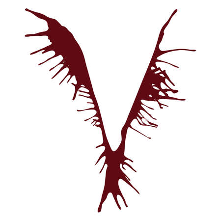 v alphabet: The letter V alphabet dripping with blood ink splash. Vector illustration. Red fonts isolated on a white background.