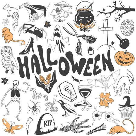 Halloween symbolen vector set. Teken flat llustration icoon collectie geïsoleerd op een witte achtergrond.