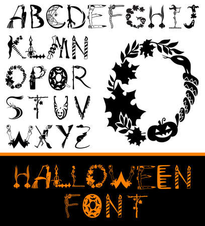 snake calligraphy: Halloween design vector font. Spooky and Magical Alphabet Set