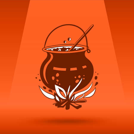 brew: Cartoon Halloween witchs cauldron with bubbling witchs brew in it