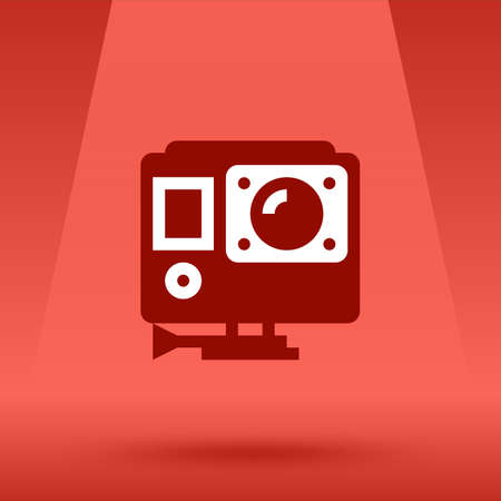 action movie: Action video camera icon symbol. Vector flat style illustration