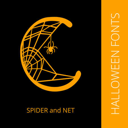 halloween spider: Halloween design vector font letter C consist of spider and net. Spooky and Magical Alphabet