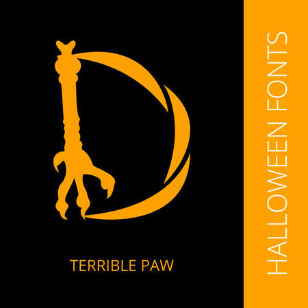 font design: Halloween design vector font letter D consist of terrible paw. Spooky and Magical Alphabet Illustration