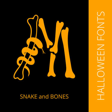 snake calligraphy: Halloween design vector font letter M consist of snake and bones. Spooky and Magical Alphabet