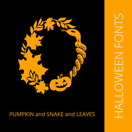 snake calligraphy: Halloween design vector font letter  O consist of pumpkin, snake and leaves. Spooky and Magical Alphabet