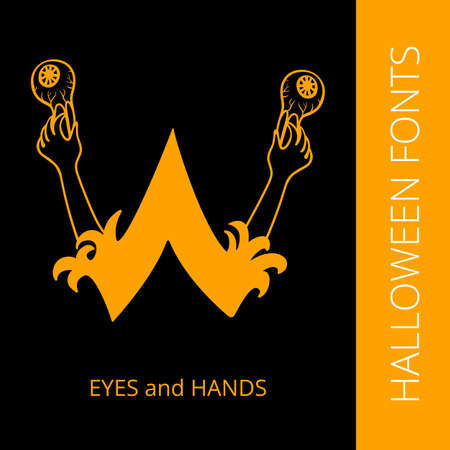spooky eyes: Halloween design vector font letter W consist of eyes and hands. Spooky and Magical Alphabet
