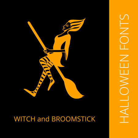 broomstick: Halloween design vector font letter X consist of witch and broomstick. Spooky and Magical Alphabet